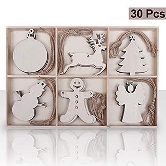BELLE VOUS Adornos de Madera Navidad (Pack de 30) – 6 Diseños (5 Piezas por Diseño) Muñeco de Nieve, Bola, Árbol de Navidad, Reno, Muñeco de Jengibre, Ángel para Decoracion Navidad, Manualidades