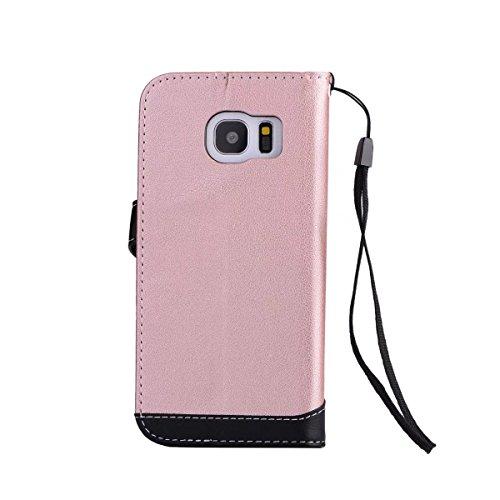 Bookstyle Horizontale Flip Stand Case Litchi Texture Dual Farbe genäht PU Leder Tasche mit Lanyard & Niet Button für Samsung Galaxy S7 Edge ( Color : Red ) Pink