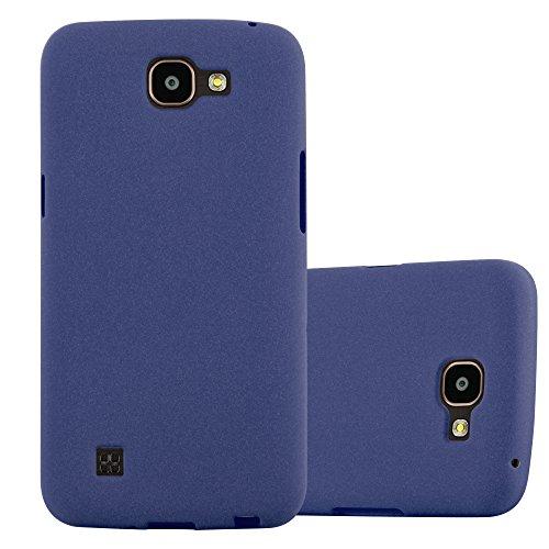 Cadorabo Hülle für LG K4 2016 - Hülle in Frost DUNKEL BLAU - Handyhülle aus TPU Silikon im matten Frosted Design - Silikonhülle Schutzhülle Ultra Slim Soft Back Cover Case Bumper