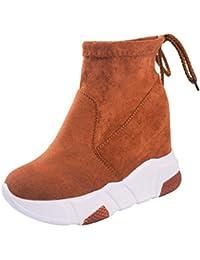 Jitong Femmes Bottines à Talon Hauteur Cheville Bottes à Lacets en Daim  Zipper Chaussures Compensées de 908595511b7c