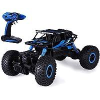 SKM 2.4GHz 1:18 Coche RC Radiocontrol Teledirigido Escalada Camión de Juguete 4WD Roca Rastreador Todoterreno Carrera (Azul con USB Cable)