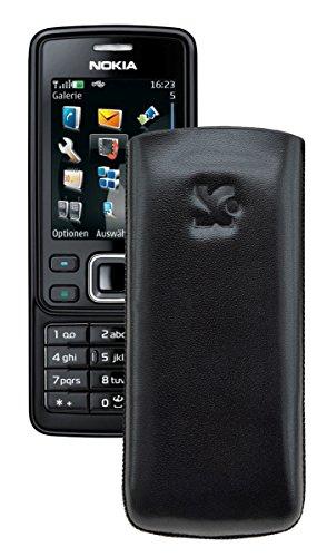 Suncase® Tasche für / Nokia 6300 - 6300i / Leder Etui Handytasche Ledertasche Schutzhülle Case Hülle *Lasche mit Rückzugfunktion* in schwarz