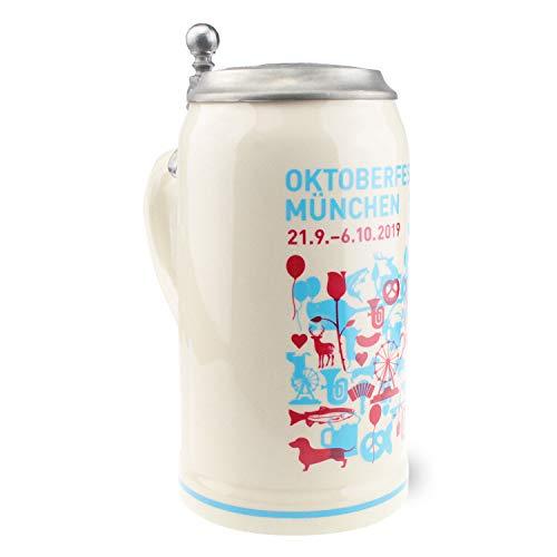 Offizieller Oktoberfestkrug 2019 mit Deckel, 1 Liter, Limitierte Auflage, Sammlerkollektion