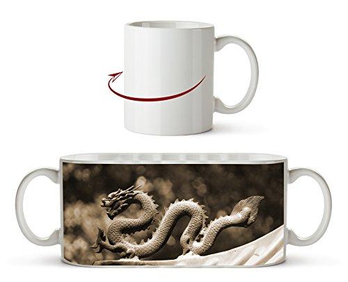 Drachenfigur Effekt: Sepia als Motivetasse 300ml, aus Keramik weiß, wunderbar als Geschenkidee oder...