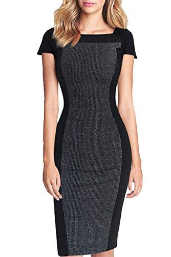 ACHICGIRL Women's Square Neck Color Block Bodycon Dress Grey