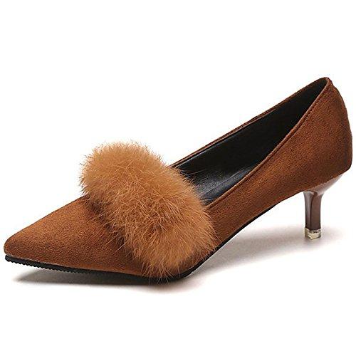 DIMAOL Scarpe Donna Giù/Fur Caduta Comfort Tacchi Stiletto Heel Punta per Il Casual Nero Marrone Brown