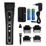 Haarschneider mit 2 Batterien und 4 Aufsteckkämme KYG Profi Haarschneidemaschine Akku- und Netzbetrieb Bart und Haarschneider Set...