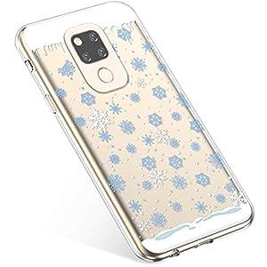 Uposao Kompatibel mit Handyhülle Huawei Mate 20 Schutzhülle Transparent Silikon Schutzhülle Handytasche Crystal Clear Durchsichtige Hülle TPU Cover Weich TPU Bumper Case,Blau Schneeflocken
