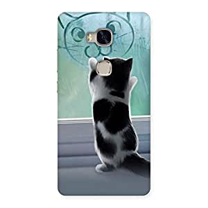 Premium Cute Kitty Face Print Back Case Cover for Huawei Honor 5X