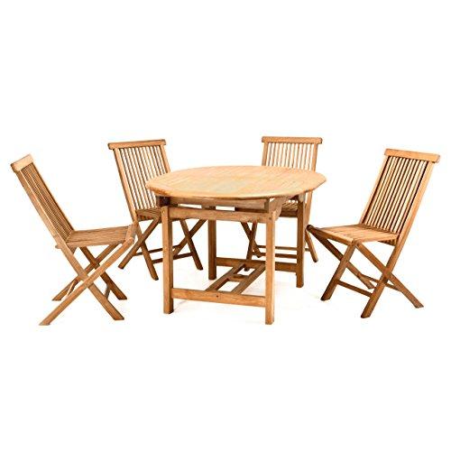 Divero Gartenmöbel-Set Terrassenmöbel-Garnitur Sitzgruppe Esstisch 120/170 cm ausziehbar 4x...