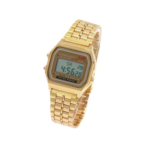 Digital Damenuhr/Herrenuhr Retro Design Klassisch Uhr Gold