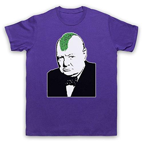 Inspiriert durch Banksy Churchill Punk Graffiti Street Art Unofficial Herren T-Shirt Violett