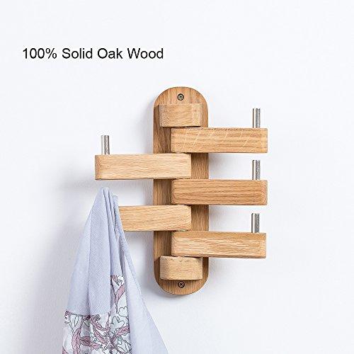 INMAN HOME Eiche Massiv Holz Wand montiert Drehgelenk Coat Racks Hat 5Haken Multi Faltbare Arme Handtuch Kleidung Schlüssel Aufhänger für Badezimmer Diele Schlafzimmer Büro Küche (Multi-aufhänger-haken)