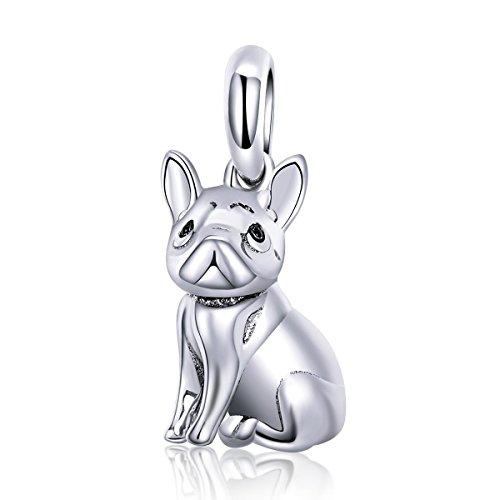 FOREVER QUEEN Bulldog Frances Charms de Plata de Ley 925, Diseño de Animales, Abalorios de Perro para Pulsera y Collar BJ09084