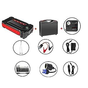 Feng Jump Starter de 12000mAh, 600A Batería Arrancador de Coche (Batería Externa Recargable, 4 Puertos USB, LED Flashlight, Multifunción, con Pinzas Inteligentes) Compresor de Aire
