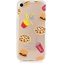 MUTOUREN 2017 Serie> iPhone 7> TPU protector funda de silicona transparente [Fusión] [Técnica de Reducción] [cubierta de polvo se adjunta] 360 proteger el teléfono de daños> hamburguesa con cola de KFC