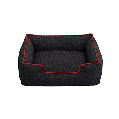 Panier Chien/chat Angelof Chiot Pet Dog Cat Noir Lavable Panier Chien Denim éPais Robuste Mat Confortable Lit Douillet Maison Nid Moelleux (M, Rouge)