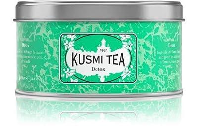 Kusmi Tea - Thé Bien-Être Detox - Mélange de Thé Vert, Maté et de Plantes, Aromatisé Citron - Mélange Conditionné en France - Idéal en Glacé - Boîte Métal 125G - Environ 50 tasses