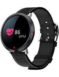 QUICKLYLY Pulsera Actividad,Inteligente con Pulsómetro Cardíaco Monitor para Mujer Hombre Reloj Fitness Podómetro,Sueño,Notificación de SMS para Android y IOS (Negro)
