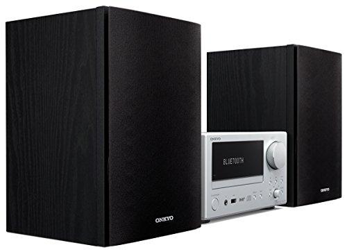 Onkyo CS-375D(SB) CD Hifi System (Kompaktanlage, CD Player, 2 x 20 W Ausgangsleistung, Lautsprecher, WLAN, Bluetooth, Streaming, Radio/DAB+, Front USB/Audio in, JOG-Wähler), Silber/Schwarz -