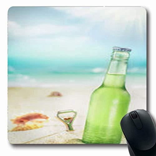 Luancrop Mousepads Goldene eiskalte grüne unbeschriftete heiße Flasche Erfrischungslebensmittel-Getränk-Bier-Neue längliche Spiel-Mausunterlage rutschfeste Gummimatte (Heißes Getränk-flasche)
