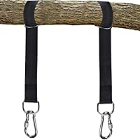 ZONKO 2X Tree Swing Hanging Straps argollas Colgantes para Colgar árboles con mosquetón de Seguridad Bolsa de Transporte, Discos hamacas, Capacidad para hasta 2200 LB- Negro