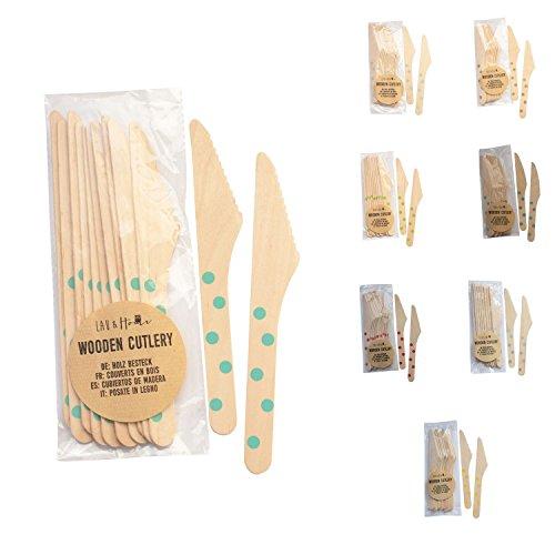 Cubiertos desechables Cuchillos de madera Juego de accesorios ecológicos - Lunares (Agua, 60)