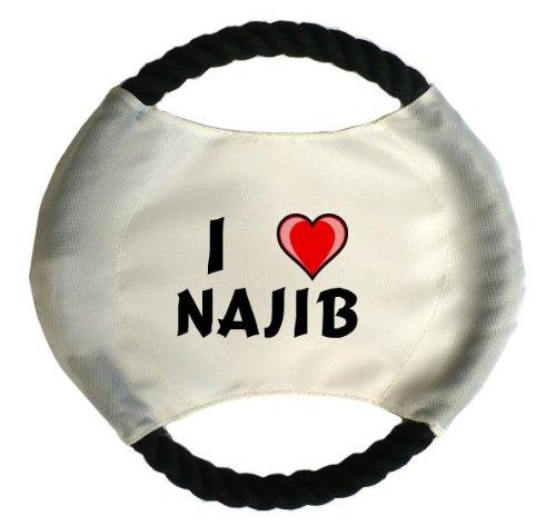 Personalisierter Hundefrisbee mit Aufschrift Ich liebe Najib (Vorname/Zuname/Spitzname)