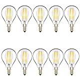 Atesny G45 4W Dimmbar Glühfaden E14 LED Tropfenform Lampe Klar Glas Warmweiß 2700K 360° Abstrahlwinkel AC 220V,10 Stück