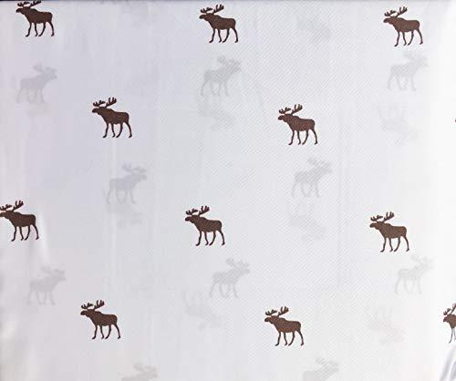 Grove and Hollow Bedding Bettwäsche-Set, 4-teilig, rustikales Jagdlager-Muster, braune Elche auf Weiß