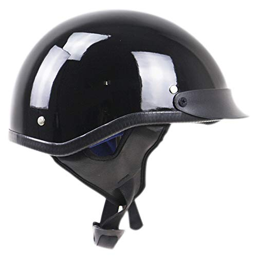 Retro Open Face Motorcycle Half Helmet, Vintage Harley Adjustable Cap DOT Approved Crash Helmet Motorcycle, Glossy Black for Men Women Bike Cruiser Chopper Moped Scooter -