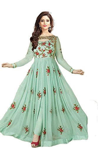 Clothfab Women\'s Georgette Embroidered Work Party Wear Dress Material (Avon-Green 105_Free Size)