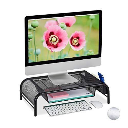 Relaxdays Monitorständer, Schublade, 2 Seitenfächer, Bildschirmständer bis 29 Zoll, HxBxT: 15 x 51 x 29,5 cm, schwarz -