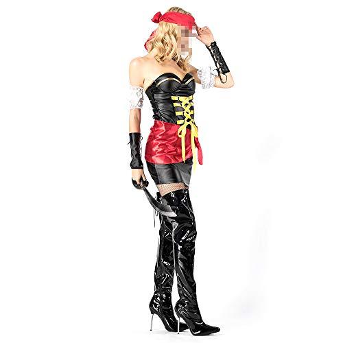 Weiblich Piraten Kostüm - YyiHan Halloween Kostüm, Outfit Für Halloween Fasching Karneval Halloween Cosplay Horror Kostüm,Cosplay Piratenkapitän-Rollenspiel des Weiblichen Piraten Halloweens