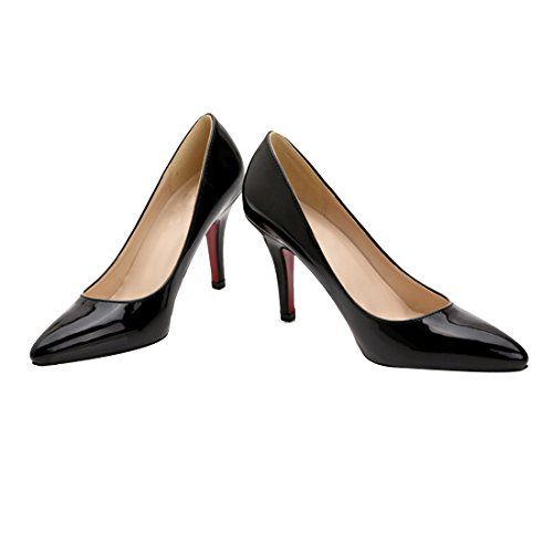 HooH Femmes Cuir Verni Stiletto Escarpins LB0002 Noir