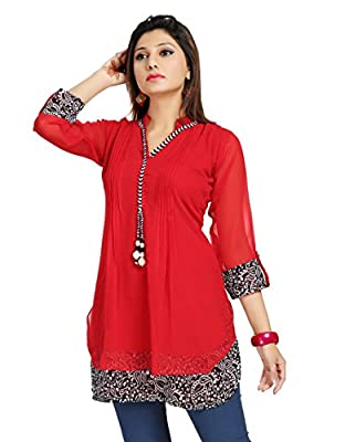 ALC Creations Women's Chiffon A-Line Short Kurti - Cherry Red Wash separately in cold water
