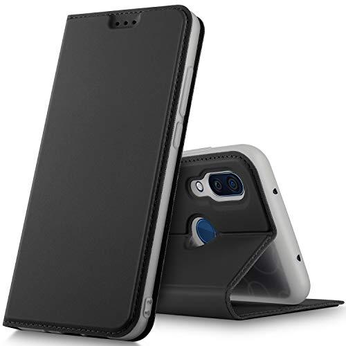 GeeMai ZTE Axon 9 Pro Hülle, Premium ZTE Axon 9 Pro Leder Hülle Flip Case Tasche Cover Hüllen mit Magnetverschluss [Standfunktion] Schutzhülle handyhüllen für ZTE Axon 9 Pro Smartphone, Schwarz
