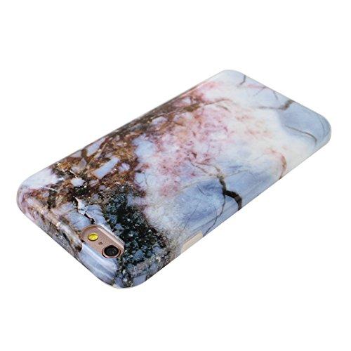 iPhone 6 Plus/6S Plus Bumper Case, iPhone 6 Plus Marmor Handyhülle, iPhone 6S Plus Marmor Handyhülle, Marble Marmor Design, Moon mood® Hülle für Apple iPhone 6 Plus/6S Plus 5.5 Zoll Weich Silikon TPU  Marmor 16