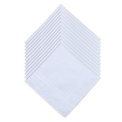 100% Baumwolle Tuxedo (JJPRIME-Bakers Dozen Mens Handkerchief 100% Cotton Pure White Hankies+ FREE 1 EXTRA HANKERCHIEF)