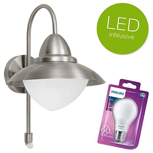 EGLO SIDNEY LED Außenwandleuchte BEWEGUNGSMELDER Aussenleuchte Außenlampe Edelstahl + PHILIPS LED Leuchtmittel E27 9W