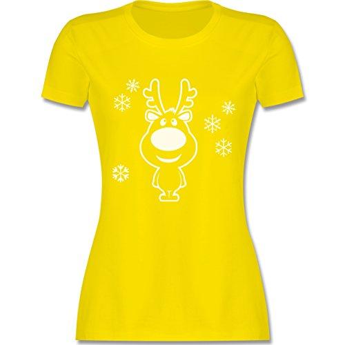 Weihnachten & Silvester - Rentier Schneeflocken - tailliertes Premium T-Shirt mit Rundhalsausschnitt für Damen Lemon Gelb