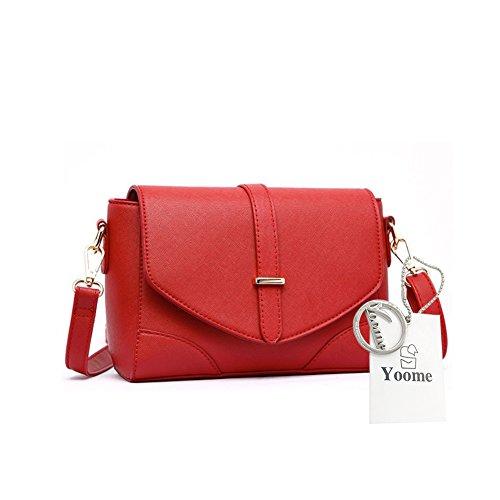 Yoome Cross Pattern Retro Flap Bag Borsa da donna Messenger Borsa Borse e portafogli Vintage - L.Grey Rosso