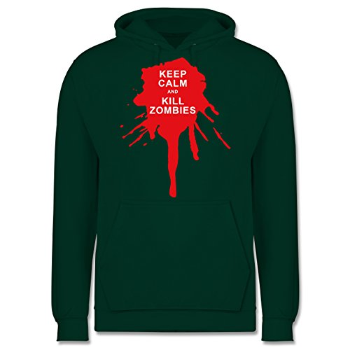 Keep calm - Keep calm and kill Zombies - Männer Premium Kapuzenpullover / Hoodie Dunkelgrün