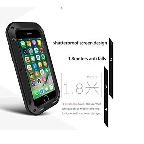 LOVE MEI Fall für iPhone 7 Plus, Metal Aluminum Tasche mit Gehärtetes Glas Corning Gorilla Glass Military Heavy Duty wasserdicht Hülle für Apple iPhone 7 Plus (rot) schwarz