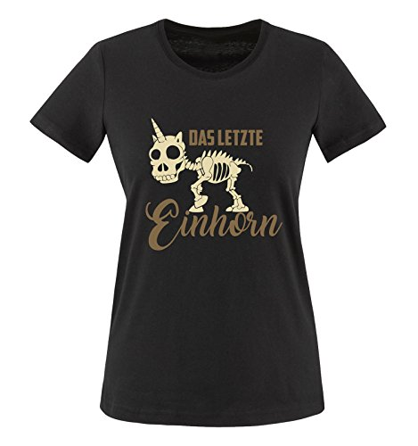 Comedy Shirts - Das letzte Einhorn - Skelette - Damen T-Shirt - Schwarz/Hellbraun-Beige Gr. L
