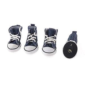 SODIAL(R) Animal domestique marine chien Chihuahua chaussures de sport bleu, des semelles en caoutchouc XS
