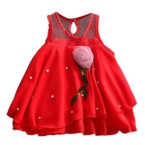 IZHH Kinder MäDchen Rock 6M-24M Kind ÄRmellos Einfarbig Blume Mesh Rock Stitching Puff Kleid Kleinkind Baby MäDchen ÄRmellos Solide TüLlrock Blumen Party Prinzessin Kleider(Rot,80)