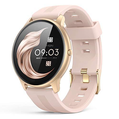 Oferta de AGPTEK Smartwatch Mujer, Reloj Inteligente Deportivo 1.3 Pulgadas Táctil Completa IP68, Monitor de Sueño, Seguimiento del Menstrual, Control de Musica, Regalo Navidad