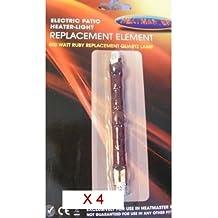 Cuatro unidades 500Watt Heatmaster Ruby U3calefactor halógeno bombilla
