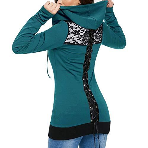 Damen Kapuzenpullover Damen Bandage Kapuzenoberteile Langarm Lässige Bluse Lace Up Back Zip Up Hoodie Sweatshirt Moonuy